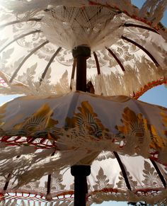 Bali Ceremonial umbrellas known as tedung (in Bahasa Bali this means 'to guard'). #Bali #Indonesia