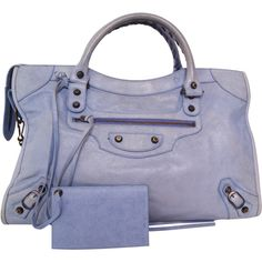 Pre-owned Balenciaga Paris Classic 'City' Leather Handbag ($715) ❤ liked on Polyvore featuring bags, handbags, blue, blue purse, studded purse, woven leather handbag, long strap purse and genuine leather handbags