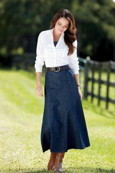 Long Denim Skirt from Chadwicks Komplette Outfits, Skirt Outfits, Fashion Outfits, Womens Fashion, Fashion Ideas, Fashion Tips, Fashion Skirts, Fashion Quotes, Fashion 2018
