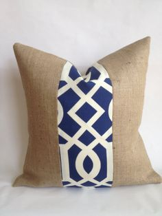 I love outdoor cushions on nice big old couches. 20x20 Navy and White Outdoor Fabric and Burlap Pillow Cover