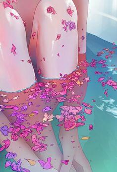 Flower Bath 4 Art Print by Phazed - X-Small Aesthetic Anime, Aesthetic Art, Main Manga, Illustrations, Illustration Art, Illustration Pictures, Pop Art, Tableaux Vivants, Art Anime