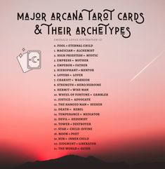 Inspired by Caroline Myss' Archetypes, this free handout includes all 21 major arcana tarot cards and their corresponding archetype. Tarot Cards Major Arcana, Tarot Significado, Tarot Card Spreads, Tarot Astrology, Tarot Card Meanings, Tarot Decks, Archetypes, Socialism, The Magicians