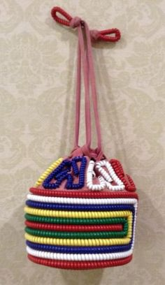 VINTAGE PLASTIC TELEPHONE CORD handbag purse 40'S/50'S excellent condition