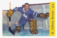 Johnny Bower 1958-59 Parkhurst Hockey Card Hockey Cards, Baseball Cards, Maple Leafs Hockey, Hockey Goalie, Toronto Maple Leafs, Raptors, Major League, Nhl, Team Logo