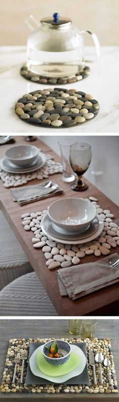 With their natural color and unique shape you can easily create a stylish design with pebbles adding texture and contrast to your decor. #river_rock #pebble_decoration #DIY_with_pebbles