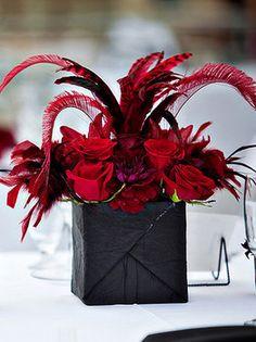 Wedding, Flowers, Reception, Centerpiece, Red, Black, Fujikos flowers, Table arrangements