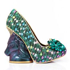 Magical iridescent unicorn heels with metallic green fabrics with sequin bows.
