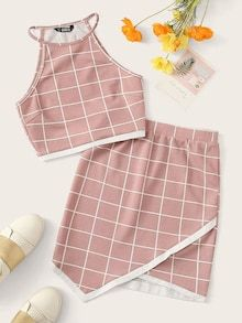 To find out about the Sleeveless Grid Top & Hanky Hem Skirt Set at SHEIN, part of our latest Two-piece Outfits ready to shop online today! Teenage Outfits, Cute Girl Outfits, Girly Outfits, Cute Casual Outfits, Outfits For Teens, Pretty Outfits, Stylish Outfits, Batman Outfits, Formal Outfits