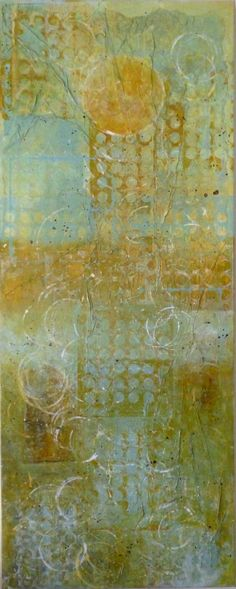 laurajwryan:    Spring Equinox, 2/26/2012  Acrylic wash monotype, rice paper on canvas, 40 x 16 inches  I'm still considering this a work in progress…
