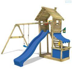 Speeltoren Smart Shop met schommel, klimladder en zandbak in één. Groot aanbod aan speeltoestellen, schommels en toebehoren in onze shop.