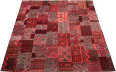 Red/Rose Patchwork Carpet/Rug No. 4483  http://www.alrug.com/4483