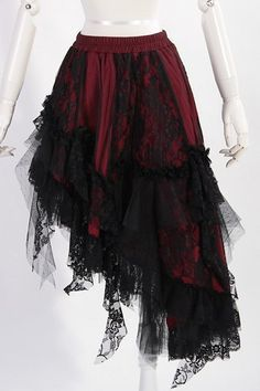 RED  Black Lace Asymmetical Skirt by RQBL | Ladies Gothic (Would have to be different colors)