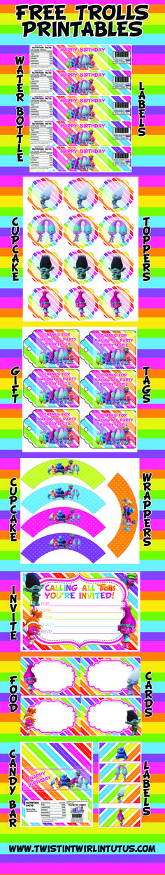 FREE Trolls Printable with any Trolls Birthday Apparel purchase | Trolls Birthday Ideas | Troll Birthday Party Ideas | Trolls Invitations | Trolls Water Bottle Labels | Trolls Cupcake Toppers | Trolls Cupcake Wrappers | Trolls Candy Bar Wrappers | Trolls Placecards