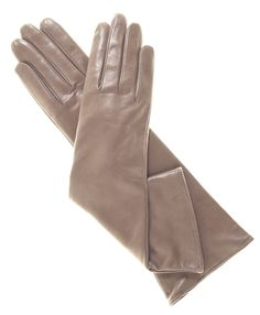 Taupe leather gloves. These are lined with cashmere.  How wonderful.  :-)