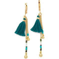 Shashi Lilu Ball Drop Earrings (€33) ❤ liked on Polyvore featuring jewelry, earrings, beaded earrings, drop earrings, tassel jewelry, 18 karat gold earrings and chains jewelry