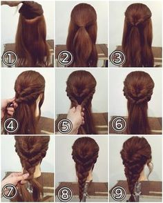 Super Easy and Fabulous Inverted Braid Hairstyle Easy Hairstyles For Long Hair, Diy Hairstyles, Easy Wedding Hairstyles, Simple Braided Hairstyles, Hairstyle Images, Easy Updos For Medium Hair, Hairstyle Braid, Pulled Back Hairstyles, Indian Bridal Hairstyles
