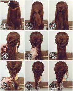 """ถูกใจ 454 คน, ความคิดเห็น 3 รายการ - nest hairsalon (@nest_hairsalon) บน Instagram: """"三つ編みアレンジ ① こめかみの上あたりで少しU字型に上下に分けます。 ② 上を結びます。 ③ それをくるりんぱします。 ④ サイドをロープ編みの要領で髪を拾いながら編んでいきます。 ⑤…"""""""
