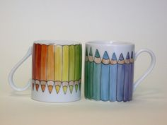 rainbow espresso coffee cup hand painted coloured by madrab