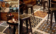 Colorful trendy cement tiles floor bar #mosaicdelsur #cementtiles