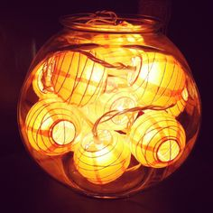 Fun fishbowl lamp made with small Chinese laterns!
