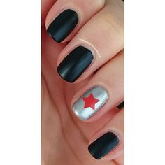 simple Captain America The Winter Soldier manicure ❤ liked on Polyvore featuring beauty products and nail care