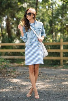Casual stripe dress + denim jacket + white crossbody purse
