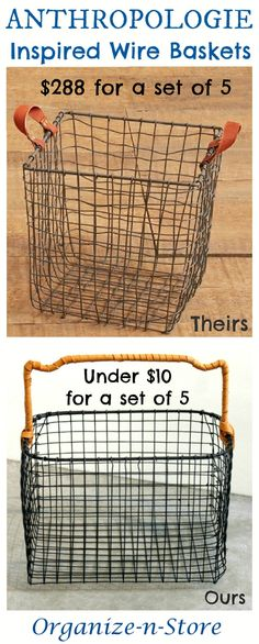 DIY Anthropologie Inspired Wire Baskets For toys, knick knacks, and storage around the house Diy Décoration, Diy Crafts, Tienda Natural, Chicken Wire Crafts, Organizing Wires, Clothes Basket, Cube Storage, Diy Storage, Storage Organizers