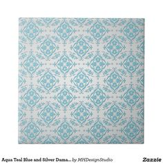 Aqua Teal Blue and Silver Damask