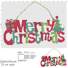 Colorful Merry Christmas text present and tree door hanger free cross stitch pattern