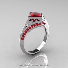Modern French 14K White Gold 1.23 Ct Princess Rubies by artmasters, $999.00