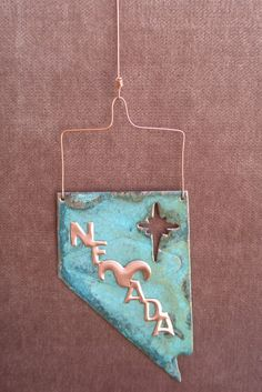 Christmas ornaments shaped like the states | NEVADA STATE Shaped Copper Verdigris Ornament - Handcrafted in The ...