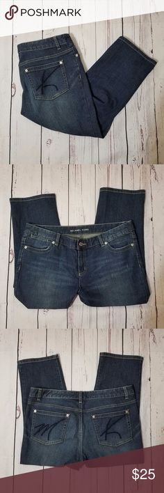 Michael Kors Capri Dark Denim Lowrise Jeans Excellent pre-owned condition. No damages, stains, or wear. Features signature initials on the back pockets. Capri length (I'm really short so they're just cropped on me!) Measurements in the picture. Pretty true to size. Michael Kors Jeans Ankle & Cropped