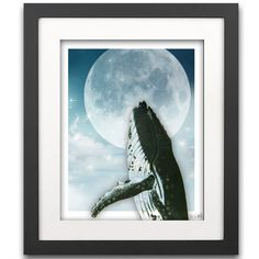 Kiss the Moon Vintage Whale Art Print - Childrens Art - Boys Room - Full Moon Art - SHIPPING INCLUDED - Nursery Art  - Secret Harbor Designs