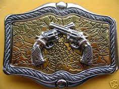 Cool Big Western Cowboy Rodeo Guns Vintage Belt Buckles