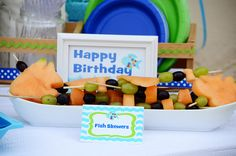 This is another healthy alternative for an Undersea or Nemo birthday party theme fish skewers made of fruit.  Just use a fish shaped cookie cutter (this cute inspiration comes from Amy Atlas)