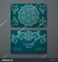 Emerald Business Card With Flower And Ornaments In Baroque Style. Стоковая векторная иллюстрация 390747532 : Shutterstock