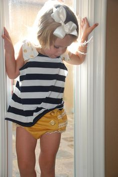 Navy Baby Dot Top and vintage baby bloomers in yellow.  By La Petite Couture