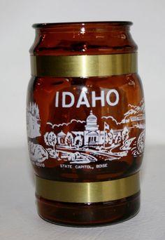 Vintage Idaho Souvenir Amber Glass Mug Wood Handle & Brass Trim