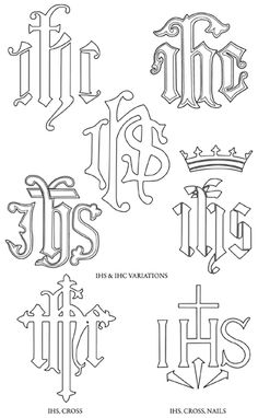 A monogram is one or more letters put together to form a symbol. Monograms date back to the first century and are among Christianity's ol. Christian Symbols, Christian Art, Religious Symbols, Religious Art, Catholic Tattoos, Church Banners, Catholic Art, Monogram Letters, Embroidery Patterns
