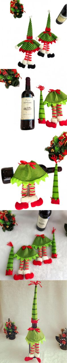 Wine Bottle Sets & Christmas Cap On Bottle Santa Gift Red New Year Decoration for Home Christmas Party Supplier $56.2