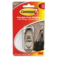 Command FC12BN - Adhesive Mount Metal Hook, Medium, Brushed Nickel Finish by Command. $23.35. Customize your home or office environment with these attractive hooks. Strong metal hook has a sleek brushed nickel finish. Sticks to surface strongly. Removes cleanly with no surface damage. Hanger/Hook Type: Hook; Width: 3 7/8 in; Depth: 1 3/4 in; Height: 6 3/4 in.