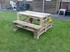Pallet picnic table. (Sorry, no tutorial attached)