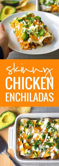 Skinny Chicken Enchilada - Super easy and super healthy. Throw ingredients in the crockpot and roll together. Top it off with melted cheese, avocado, crema, and more Cotija cheese.