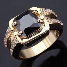 Venta al por mayor Classic Retro anillos de los hombres de super negro circón joyas de oro 18 K plateó los anillos para los hombres de lujo Gran macho Anillo R005(China (Mainland))