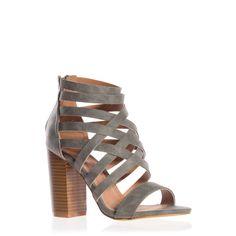 Grey Strappy Stacked Heel Sandal Navsi