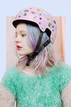 her helmet