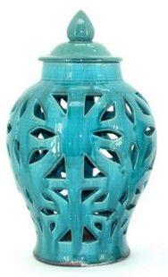 Aqua Cut-Out Jar Large