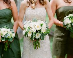 The bridesmaid will carry a bouquet of green hydrangeas, green cymbidium orchids, green seeded eucalyptus, green lamb's ear, white ranunculus, and hints of burgundy leucadendron and hellebores wrapped in ivory ribbon with the stems showing (slightly more green than the bridal).