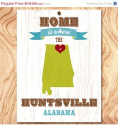 ON SALE Huntsville Alabama USA Map Art Poster by GraceHouseArt, $12.95