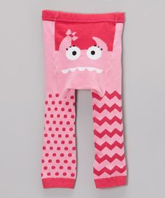 Love this Pink Monster Face Leggings - Infant on #zulily! #zulilyfinds